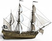 Pirate Ship With Sails On A White Background, 3d Rendering poster