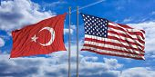 American And Turkish Waving Opposite Flags On Blue Sky Background. 3D Illustration poster