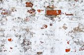Background With An Old Brick Wall And White Putty poster
