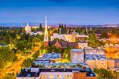 Salem, Oregon, USA town skyline at dusk. poster