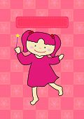 image of pinky  - a little pinky girl get a magic stick to make a wish - JPG