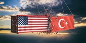 Usa And Turkey Trade War Concept. Us Of America And Turkish Flags Crashed Containers On Sky At Sunse poster