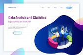 Isometric Web Banner Data Analisis And Statistics Concept. Vector Illustration Business Analytics, D poster