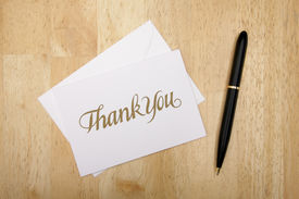 picture of thank you note  - Thank You Note Card and Pen on Wood Surface - JPG