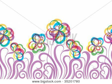 EPS10 seamless pattern with abstract flowers