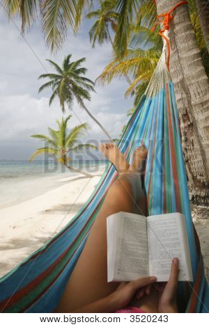 Woman Reading In A Hammock