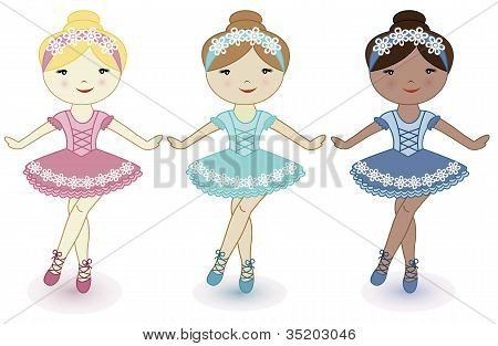 Three beautiful lovely girls of ballerinas