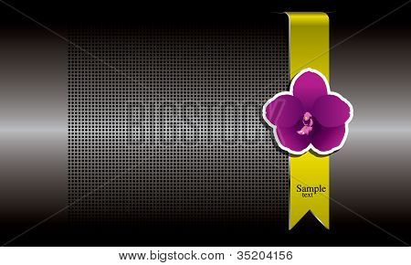 Purple orchid and gold ribbon on metal background