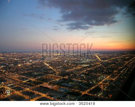 Chicago At Night, Aerial View
