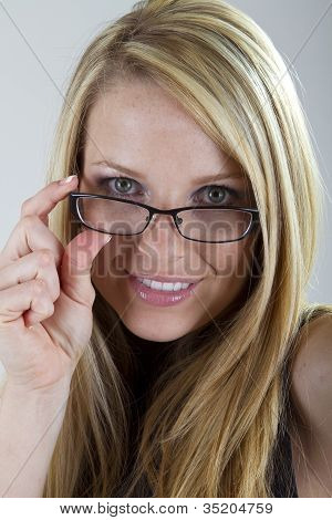 Pretty Blond with Reading Glasses