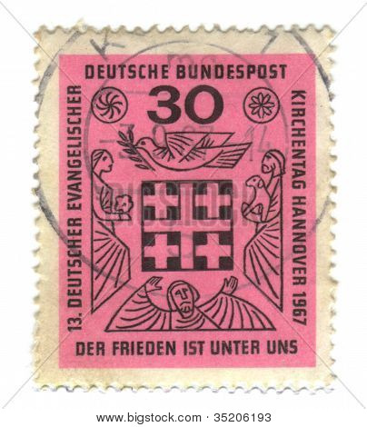 Germany - Circa 1967: A Stamp Printed In The Germany Shows Peace Is Among Us, 13Th Meeting Of German
