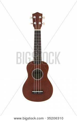 Small guitar (ukulele) direct view on white background.