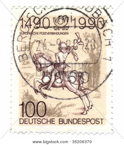 Germany - Circa 1990: A Stamp Printed In Germany-west Berlin, Is Dedicated To The 500Th Anniversary