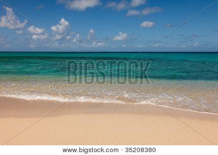 Beautiful Sandy Tropical Beach And Sunny Ocean Seascape