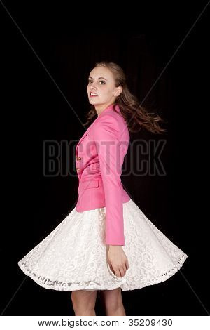 Woman White Skirt Spin