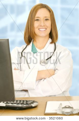 Doctor Woman Looking At Camera And Smile