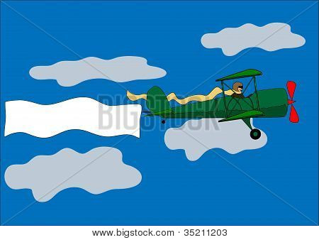 airplane, banner, biplane, vector illustration