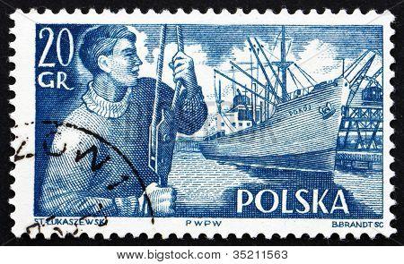 Postage stamp Poland 1956 Dock Worker and S. S. Pokoj
