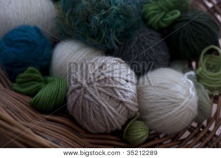 Green Wools In Basket