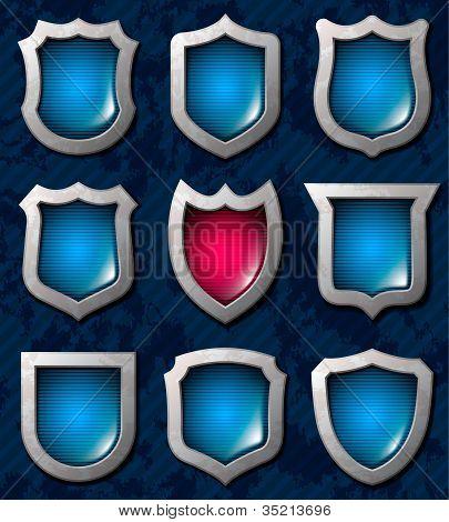 Set Of Shiny Shields