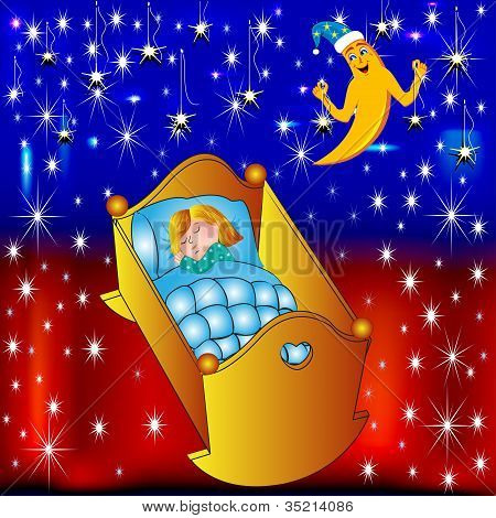 Crib Child Moon Lulls And Hangs Stars