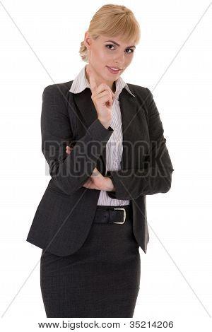 Businesswoman With Tutorial Gesture