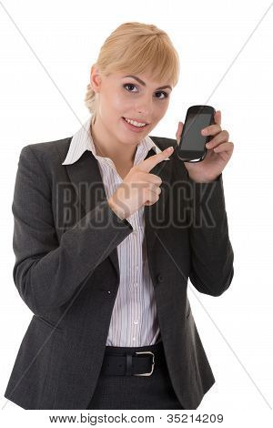 Young Woman Demonstrates A Phone With Touch Screen