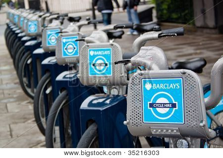 Editorial use, Rental bikes in London, England