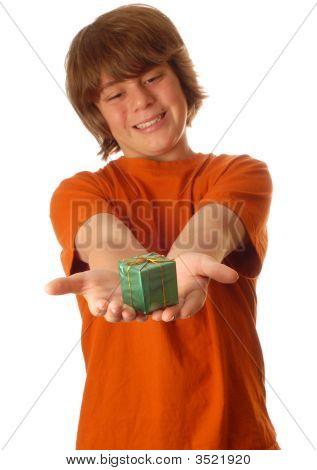 Boy Handing Out Present