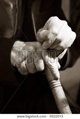 Hands Of The Elderly Man