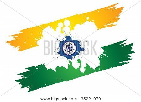 Indian Tri-color National Flag In Orange Or Saffron, White And Green Color Painted Using Paint Brush