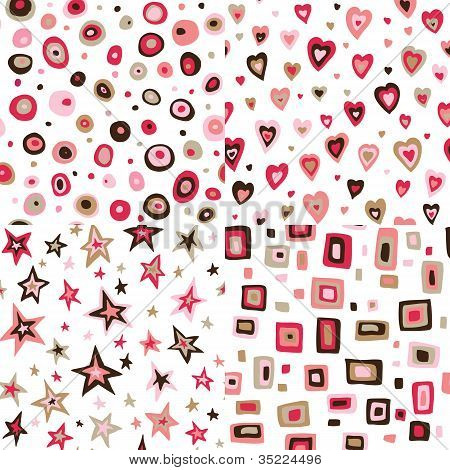 Seamless retro fifties squares, circles, stars, hearts design patterns