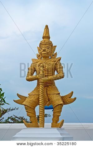 Golden statue of warrior