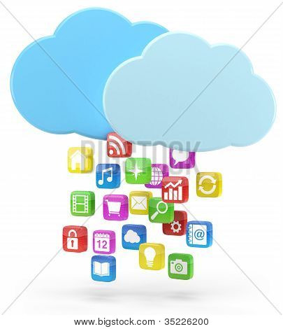 Colorful App Icons And Cloud