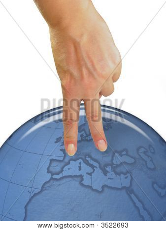 Woman Hand Showing Human Symbol Over Earth Globe
