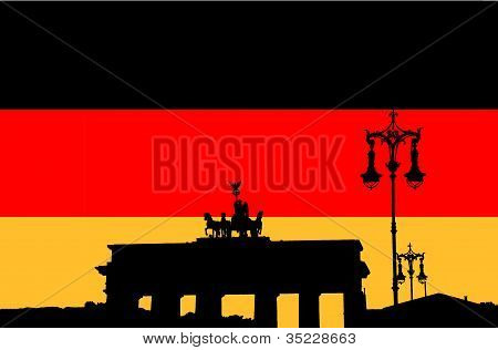 Brandenburg gate on the flag of Germany
