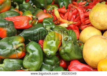 Peppers at the Otavalo market