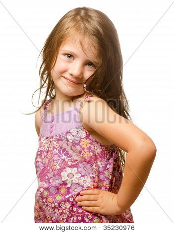 Portrait of a beautiful little girl Isolated on white background.