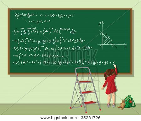 Girl solves the equation