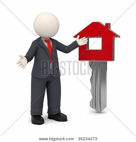 3D Business Man Presenting Home Key Concept