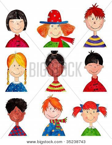 Children. Cartoon characters