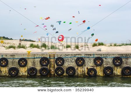 .colorful Kites On Baltic Beach.