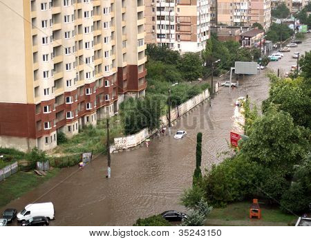 The Flood Inundated A Street In Odessa