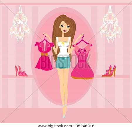 Beautiful Women shopping in clothing store