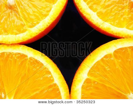 background with four fractions of orange