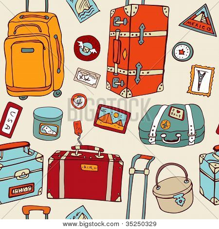 Travel seamless background. Suitcases and bags.