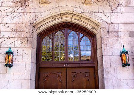 Yale University Doorway Wooden Door Lamps