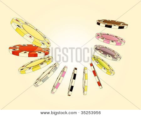 Five Colorful Types Of Poker Chips Composition Isolated On Light Yellow Background