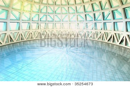 Magic Spiritual Concept In Architectural Dome With Swiming Pool