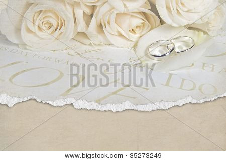 wedding rings on rose petal